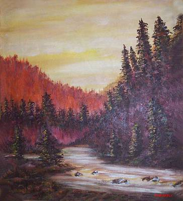Bob Ross Painting - Golden Dawn by Winston Blakely