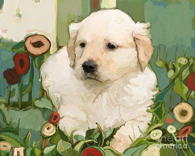 Puppy Digital Art - Golden Day by Carrie Joy Byrnes