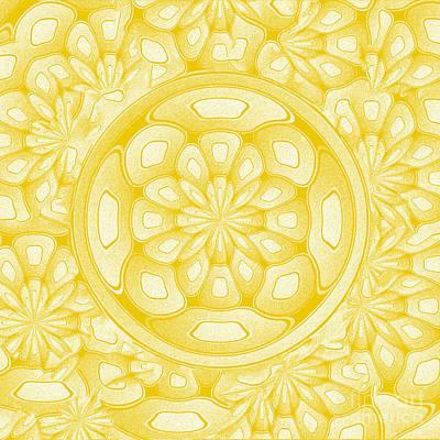 Algorithmic Digital Art - Golden Decorative Art by Gaspar Avila