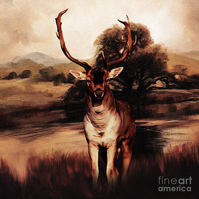 Whitetail Buck Painting - Golden Deer 21 by Gull G