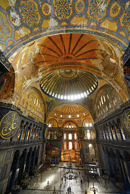 Istanbul Photograph - Golden Domes Frescoe And Crooked Qiblah Wall Inside The Hagia So by Reimar Gaertner
