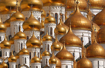 Church Digital Art - Golden Domes by Joe Bonita