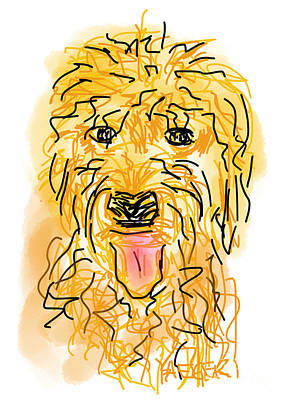 Loose Style Digital Art - Golden Doodle by Robert Yaeger