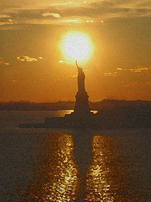 Statue Of Liberty Mixed Media - Golden Door by Paul Barlo