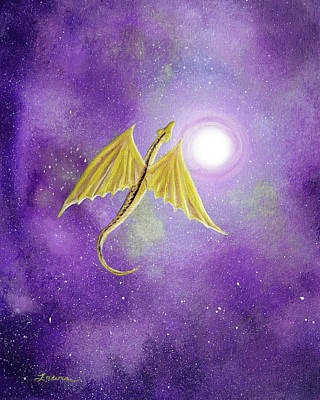 Painting - Golden Dragon Soaring In Purple Cosmos by Laura Iverson