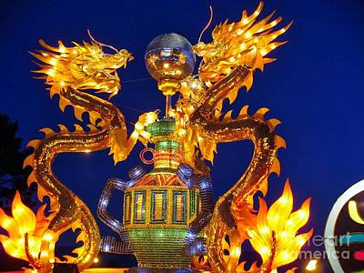 Photograph - Golden Dragons Playing With Silver Ball Chinese Lantern by Lingfai Leung