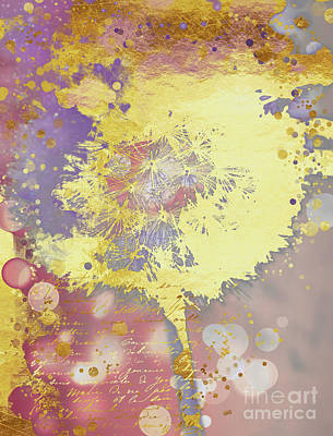 Golden Dreams Abstract Gold Dandelion Art Print by Tina Lavoie