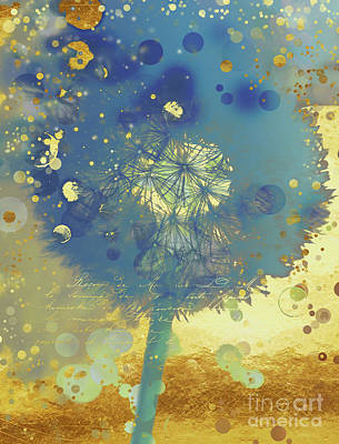 Golden Dreams II Abstract Marine Blue And Gold Dandelion Puff Art Print by Tina Lavoie