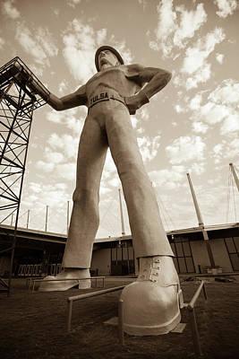 Photograph - Golden Driller Statue - Tulsa Oklahoma - Sepia by Gregory Ballos