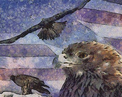 Digital Art - Golden Eagle Collage Painterly by Ernie Echols