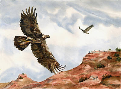 Eagle Feathers Painting - Golden Eagles In Fligh by Sam Sidders