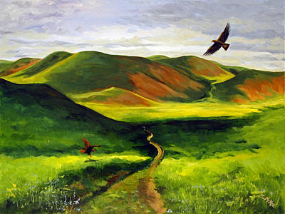 Art Print featuring the painting Golden Eagles On Green Grassland by Suzanne McKee