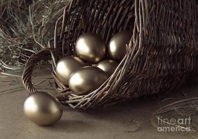 Golden Eggs In Basket Art Print