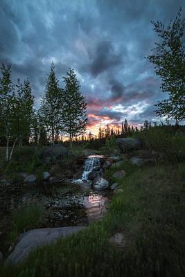 Golden Embers Sunset // Whitefish, Montana  Art Print