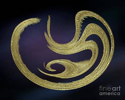 Digital Art - Golden Exotic Bird Abstract 2 by Gabriele Pomykaj