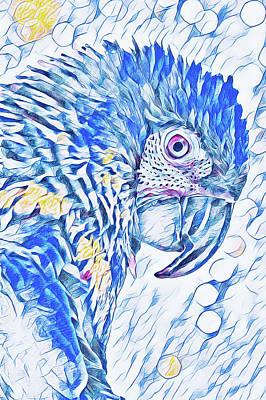 Digital Art - Golden Eye Jasper The Macaw In Blue by Mary Raderstorf