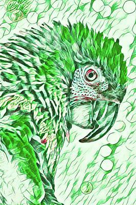 Digital Art - Golden Eye Jasper The Macaw by Mary Raderstorf