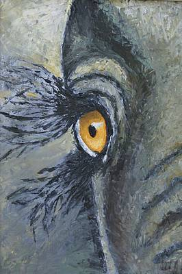 Painting - Golden Eye Of The Elephant by Theresa Cangelosi