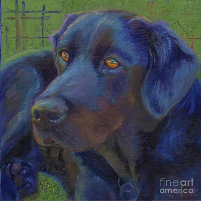 Mixed Labrador Retriever Painting - Golden Eyes by Julie Hart