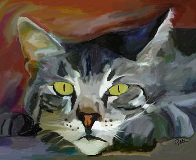 Tom Cat Painting - Golden Eyes by Patti Siehien