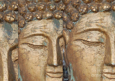 Photograph - Golden Faces Of Buddha by Linda Prewer