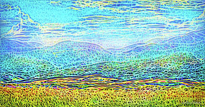 Digital Art - Golden Field Mountains by Joel Bruce Wallach