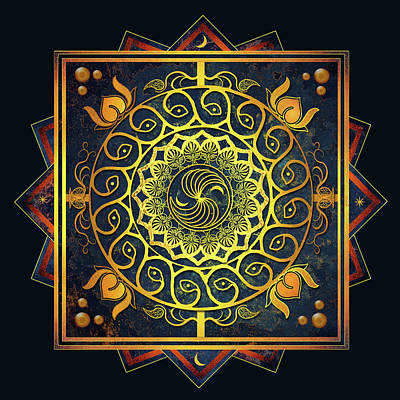 Digital Art - Golden Filigree Mandala by Deborah Smith
