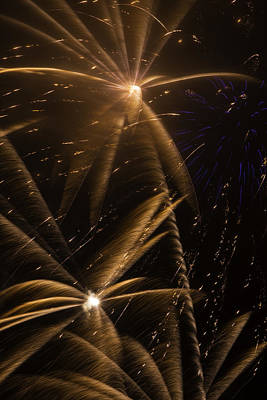 Freedom Party Photograph - Golden Fireworks by Garry Gay