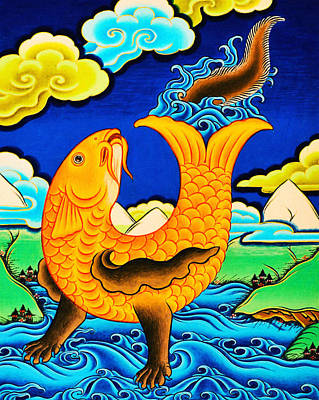 Vajrayana Painting - Golden Fish by Lanjee Chee