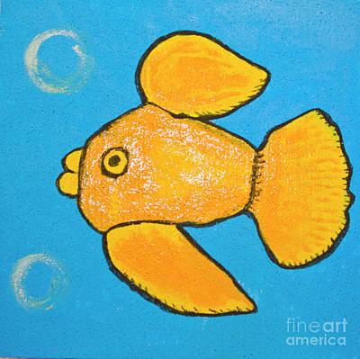 Painting - Golden Fish On Blue by Irina Afonskaya
