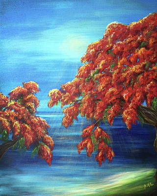Painting - Golden Flame Tree by Michelle Pier