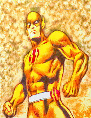Characters Painting - Golden Flash  - Free Style -  - Pa by Leonardo Digenio