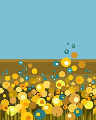 Digital Art - Golden  Flowers by Val Arie