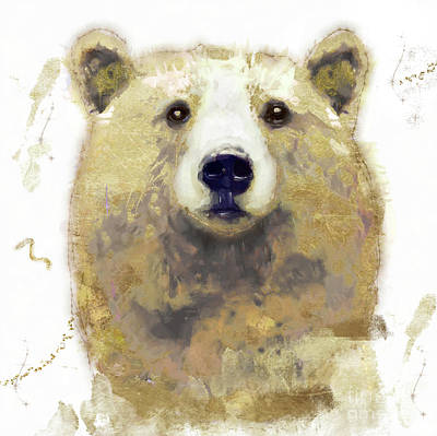 Brown Bear Wall Art - Painting - Golden Forest Bear by Mindy Sommers