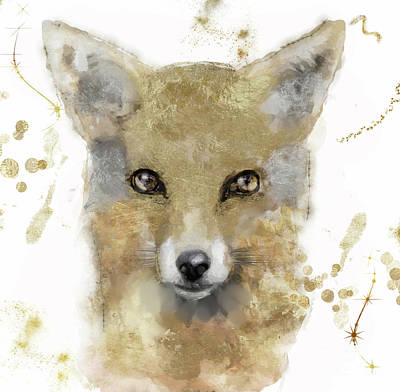 Great Outdoors Painting - Golden Forest Fox by Mindy Sommers