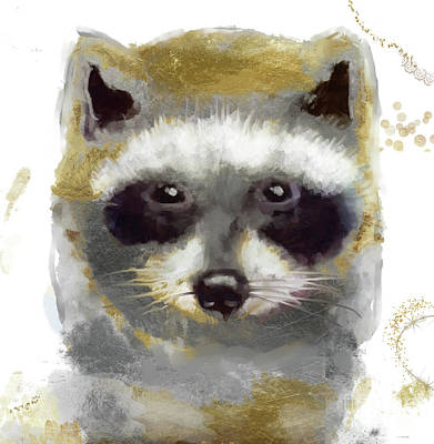 Raccoon Wall Art - Painting - Golden Forest Raccoon  by Mindy Sommers