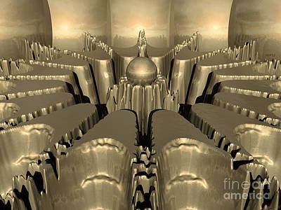 Geometric Digital Art - Golden Fractal #1 by Phil Perkins