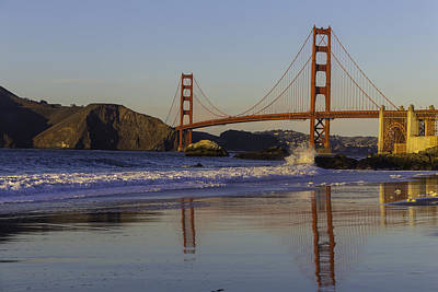 Photograph - Golden Gate And Waves by Garry Gay