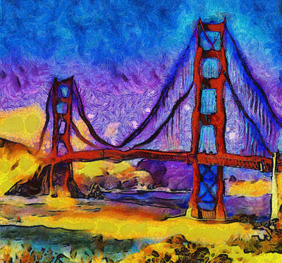 Painting - Golden Gate At Dusk by Dan Sproul