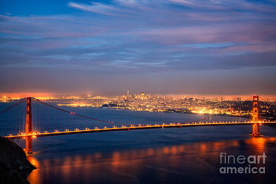 Photograph - Golden Gate At Night by Alice Cahill