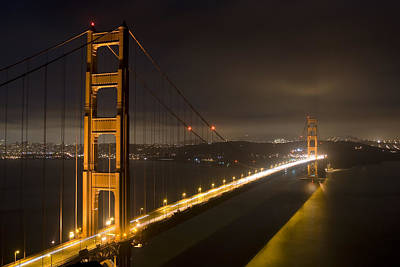 Golden Gate At Night Art Print by Mike Irwin