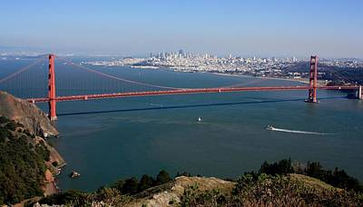 Clear Sky Photograph - Golden Gate Bidge And Bay by Luiz Felipe Castro