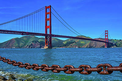Golden Gate Bridge And Chain Art Print
