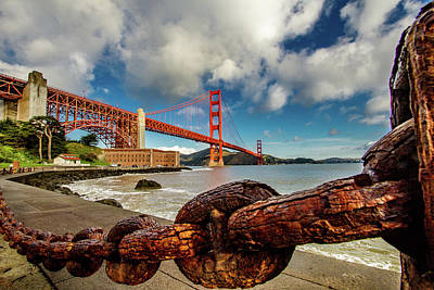 Art Print featuring the photograph Golden Gate Bridge And Ft Point by Bill Gallagher