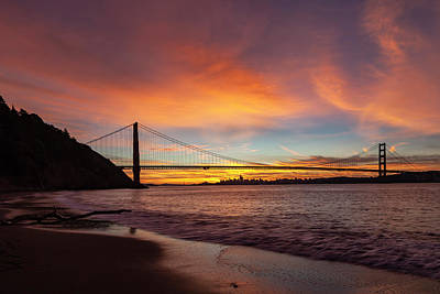 Clouds Rights Managed Images - Golden Gate Bridge at Dawn Royalty-Free Image by Rick Pisio