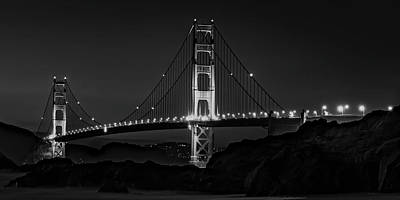 Photograph - Golden Gate Bridge At Night by Daniel Hagerman