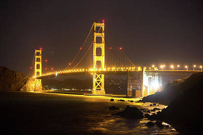 Photograph - Golden Gate Bridge At Night by Digiblocks Photography