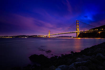 Golden Gate Bridge At Night Art Print