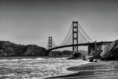 Photograph - Golden Gate Bridge Black And White by Peter Dang