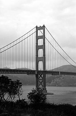 Golden Gate Bridge- Black And White Photography By Linda Woods Art Print by Linda Woods